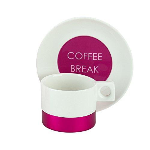2tlg. Espressotassen-Set, bestehend aus je 2 Espressotassen mit Untertassen aus Feinporzellan, aus der Kollektion Metallica in fuchsia und dem Slogan