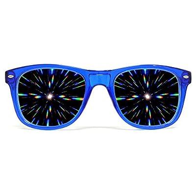 GloFX Ultimate Diffraction Glasses - Transparent Blue - 3D Prism Firework Grating