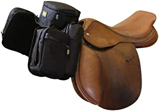 TrailMax English Pommel Horse Saddlebags for Trail-Riding, 6 Zippered Compartments & 2 Water Bottle Holders, Black