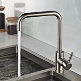 ROVATE 304 Stainless Steel Kitchen Faucet Deck Mounted, Kitchen Faucet Single Handle, Single Hole Kitchen Bar Faucet, Hot and Cold Water Mixer with High Arc Spout