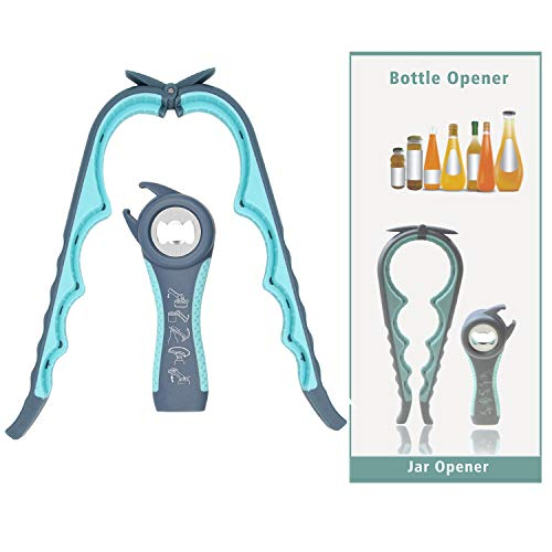 Bottle Opener Jar Openers 5 in 1 Multifunctional Hand Can Openers, Manual Jar Opener Gripper Freely-Stretch Home Kitchen Hand Tools for Seniors with Arthritis, Weak Hands, Children (Blue)