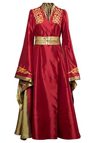 Harrypetter GOT Cersei Lannister - Disfraz de cosplay para mujer, color rojo Rojo rosso XXL