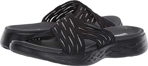 Skechers Women's GO Run 600-SUNRISE Slide Sandal, black, 9 M US
