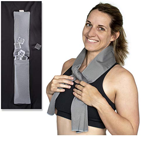 Bare Neckd Ice Cooling Towels for Athletes Sports Fitness Gym Yoga Hiking Travel Hot Flashes| Reusable Wrap Around Ice Pack