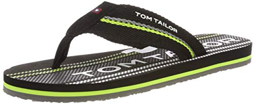 Tom Tailor 6981605, Tongs Homme, Multicolore Black Lime...