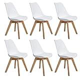 EGGREE 6er Set Esszimmerstühle Skandinavisch Küchenstuhl Stühle Modern mit Massivholz Eiche Bein und Kunstlederkissen, Weiß