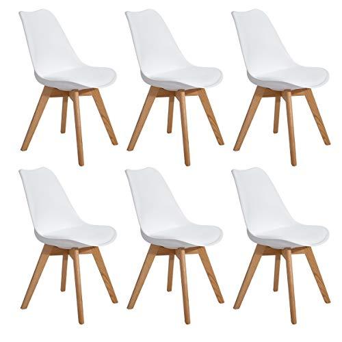 EGGREE Set di 6 Sedie Cucina Moderne Sedie Sala da Pranzo scandinave con Gambe in Quercia Massiccio e Sedile Imbottito - Bianco