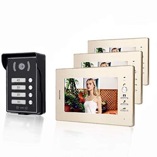 7 Inch HD Video Doorbell, Videoportero de Seguridad con LCD, Visión Nocturna con 3 Monitores Sistema de Interfono Cámara de Puerta para el Hogar, Oficina(EU)