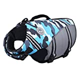 Vivaglory New Sports Style Ripstop Dog Life Jacket with Superior Buoyancy & Rescue Handle, Camo Blue, S