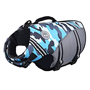 Vivaglory New Sports Style Ripstop Dog Life Jacket with Superior Buoyancy & Rescue Handle, Camo Blue, M