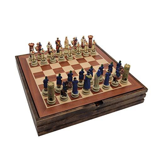 JJSFJH Juego de ajedrez conjunto de ajedrez de madera maciza Tema de Crusader de la guerra civil Conjuntos de ajedrez de resina Piezas de ajedrez de madera Juego de mesa de madera Ajedrez de lujo de a