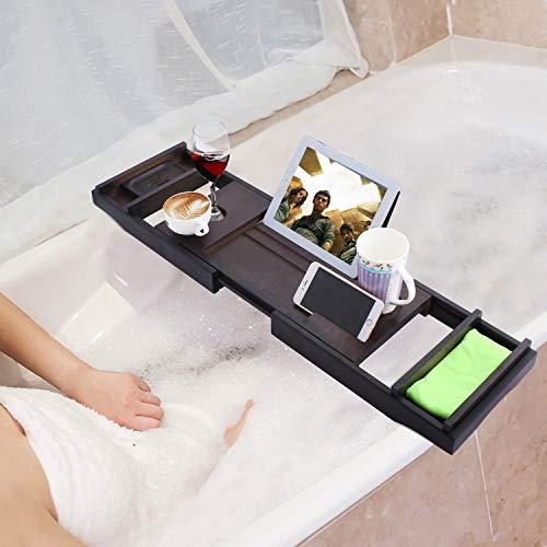 Badewannenablage aus Bambus, ausziehbar, verstellbares Badewannenbrett, Badewannen Ablagen, mit Getränkehalter, Smartphone, Buchstütze und Seifenhalter(75-111)x 4,5 x 23 cm(B x H x T) (Schwarz)
