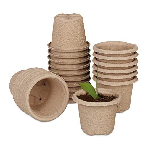 Relaxdays Anzuchttöpfe im 24er Set, biologisch abbaubar, Zellulose, HxD: 8 x 11 cm, runde Anzuchtgefäße, groß, Natur