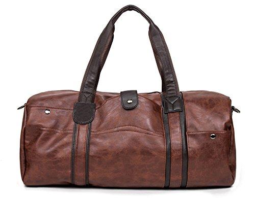 WOMJIA WOMJIA PU Leder Reisetsache Sporttasche Weekender Tasche Handgepäck aus Vintage 35 Liter Braun