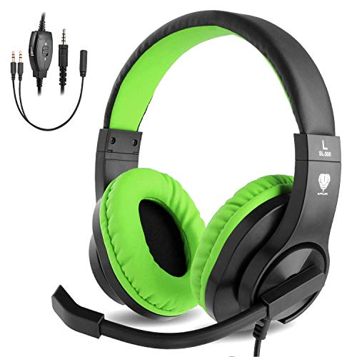BlueFire Auriculares Gaming con Microfono para PS4 PC Xbox one,  Cascos Gaming con Bass Surround Cancelacion Ruido, Diadema Acolchada y Ajustable, Microfono Unidireccional (Verde)