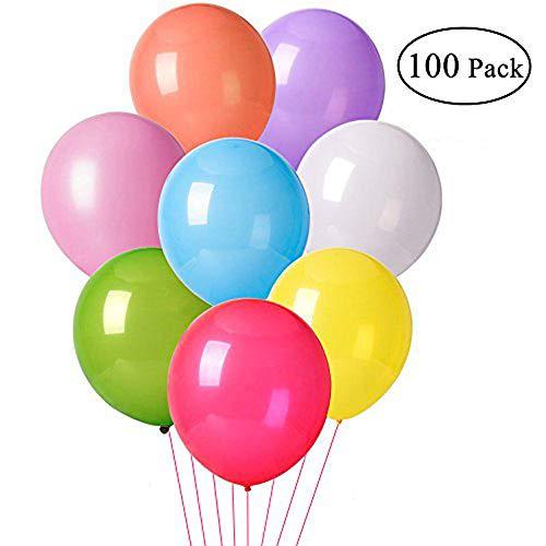 TopBine 100 Stück Luftballons ,Bunte Ballons für Geburtstagsfeiern/Hochzeit Party/Festival/Weihnachten Dekoration mit Bunte Ballons,Farben Sortiert