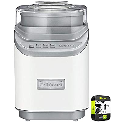 Cuisinart ICE-60WP1 Cool Creations Ice Cream Maker White Bundle with 1 Year Extended Protection Plan
