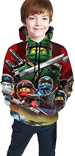 Tengyuntong para niños y jóvenes para niños y jóvenes Sudadera con Capucha Ninja-Go de Bolsillo Unisex para niños/niñas/Adolescentes/niños