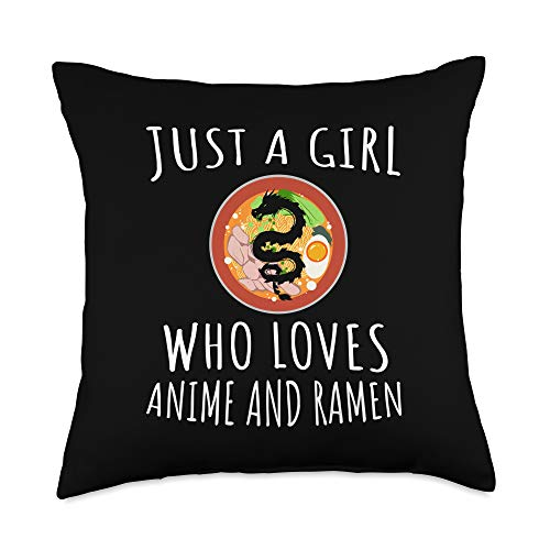 Just a girl who loves Apparel Just a girl who loves Anime and Ramen bowl Japanese noodles Throw Pillow, 18x18, Multicolor
