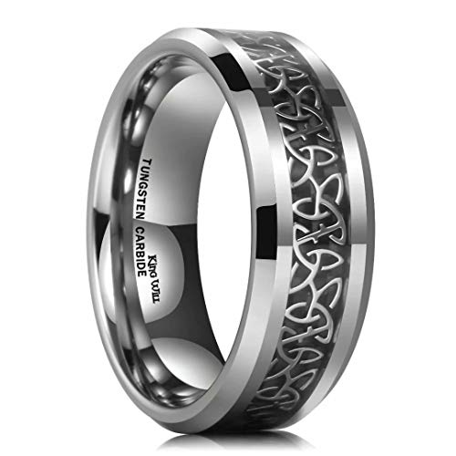 King Will 8mm Tungsten Carbide Ring Wedding Band for Men Inlay Celtic Knot Engagement Ring Comfort Fit(9.5)