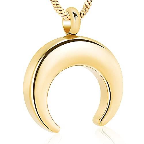 KBFDWEC Collar de urna de Cuerno de Luna Creciente para Cenizas, joyería Conmemorativa de Recuerdo para Cenizas, medallón con Colgante, Collar de urna para Hombres/Mujeres