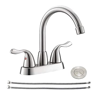 Modern 2 Handle 4 Inch Lead-free Centerset Brushed Nickel Bathroom Faucet, Stainless Steel RV Lavatory Vanity Sink Faucets with Drains Assembly & Water Hoses