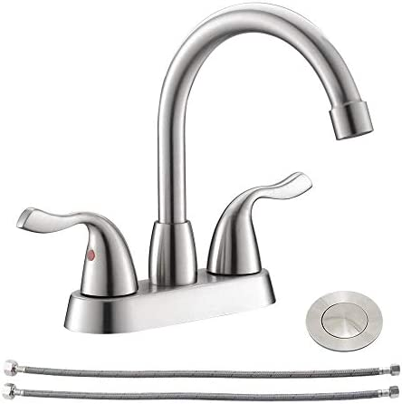Modern 2 Handle 4 Inch Lead free Centerset Brushed Nickel Bathroom Faucet Stainless Steel RV product image