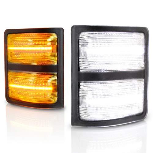 Yankok LED Side Mirror Light Assembly for [Ford F150 2013-2014] [Ford F250 F350 F450 F550 Super Duty V8 & V10 2008-2016] [Lincoln Mark LT 2013-2014] Pickup Truck Full LED White and Amber YKPL004