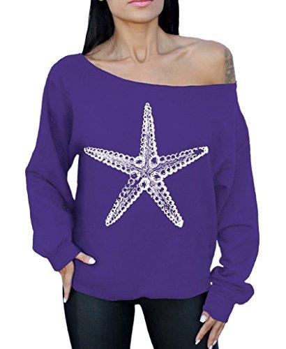 Awkwardstyles Sea Star Off The Shoulder Oversized Sweatshirt White Starfish M Purple