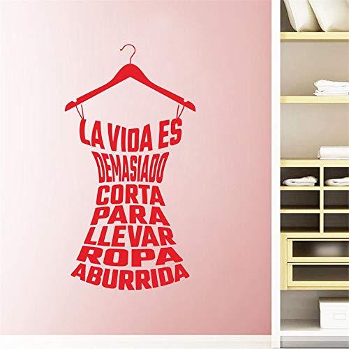 Calcomanía de pared de arte moderno póster de vinilo ropa española pegatina de pared para mujer tienda armario calcomanías 42 * 80 cm