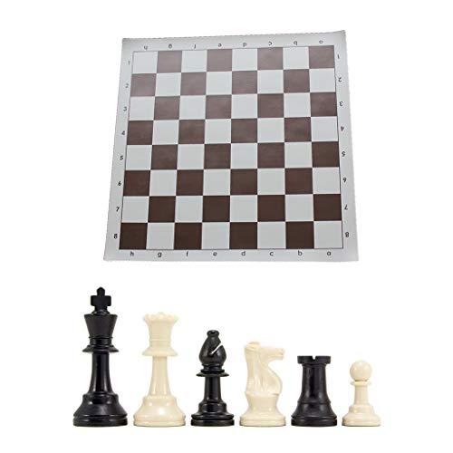 WT-DDJJK Juego de ajedrez de Tablero de ajedrez, Piezas de ajedrez con Peso Triple y Alfombrilla de ratón
