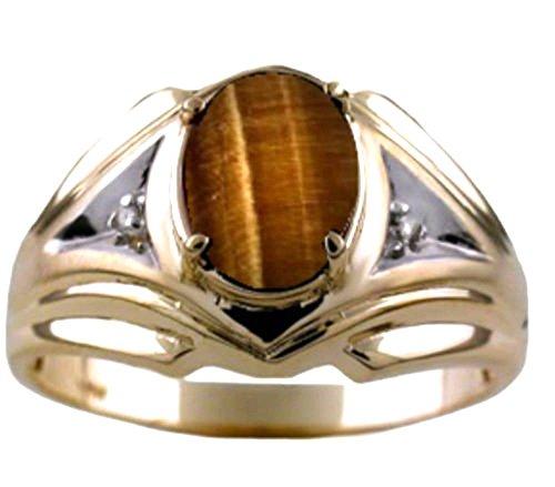 Para hombre de ojo de tigre y anillo de diamante 14K oro amarillo