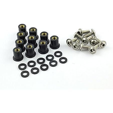 10x Verkleidungsschrauben Mit Gummimutter M6 Neopren Für Verkleidungsscheibe Sw Schwarz Auto