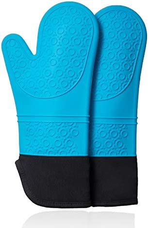 CHRYZTAL Premium Professional Silicone Oven Mitts with Quilted Liner 500 F Heat Resistant Pot product image