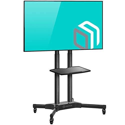 ONKRON TV Ständer Standfuss 40'-65' Zoll für die meisten TVs VESA 200x200-600x400 mm höhenverstellbar rollbar TS1351 Schwarz