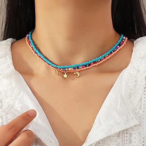 Aukmla - Collana girocollo con ciondolo a forma di stella e luna, con perline colorate, accessori per donne e ragazze