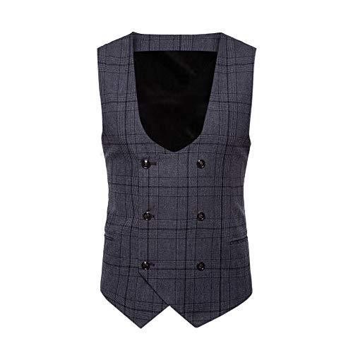 KPILP Men Fashion Herbst Winter Plaid Übergröße Baumwolle Knopf beiläufiger Druck ärmellose Jacke Mantel britischen Anzug Weste Bluse(W-dunkelgrau, 4XL)