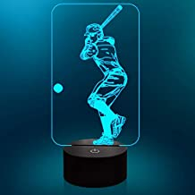 Lampeez Baseball Night Light,3D Lamp 7 Colors Change with Smart Touch Control Kids Night Light Optical Illusion Lamps for Boys Girls Baseball Sport Gift Ideas for Baseball Fan