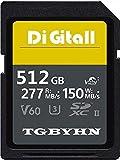 Carte mémoire SDXC 512 Go UHS-II Class 10 SD, C10, U3, stockage de données, idéal pour appareils photo reflex numériques et caméras 3D, HD (512 Go)