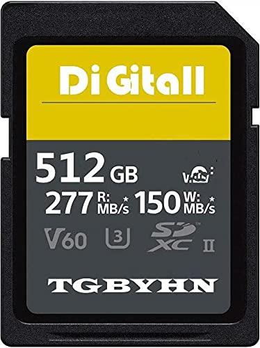 Tarjeta de memoria SDXC grande de 512 GB UHS-II Clase 10 SD, C10, U3, almacenamiento de datos, ideal para cámaras réflex digitales y 3D (512 GB)