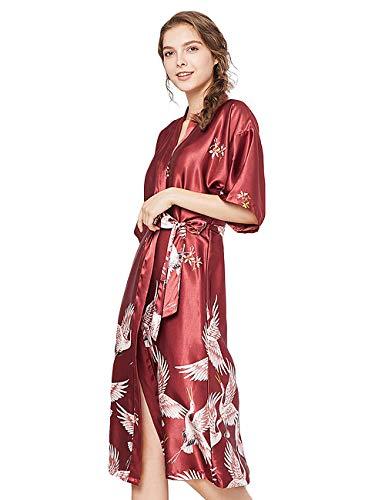 ZAPZEAL Damen Seide Morgenmantel Bademantel Elegant Langarm Nachtkleid V Ausschnitt Sleepwear Nachtwäsche, Rot, M(EU)-MarkeGröße:L-Länge 115cm