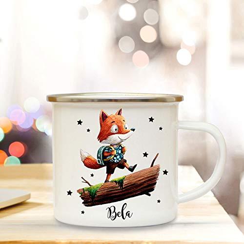 ilka parey wandtattoo-welt Emaillebecher mit Fuchs & Name Wunschname Campingtasse mit Füchschen Kaffeetasse Geschenk eb248