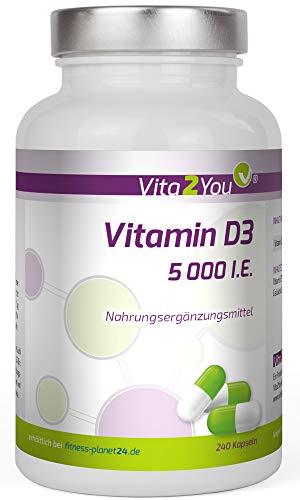 Vitamin D3-5000 IE - 240 Kapseln - Hochdosiert - 5 Tagesdosis - 1000 I.E. pro Tag - Premium Qualität - Made in Germany