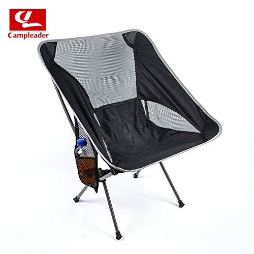 Wiouy Tragbarer, zusammenklappbarer Mond-Stuhl, zum Angeln, Campen, Grillen, zusammenklappbar, verlängerter Sitz für Wanderungen M Schwarz und Grau (mit Kettle-Tasche)