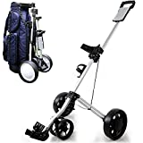 Golf Push Cart, Golf Cart for Golf Clubs, Golf Pull Cart for Golf Bag, Golf Push Carts 3 Wheel Folding with Foot Brake Scoreboard , Golf Accessories for Men Women/Kids Practice and Game