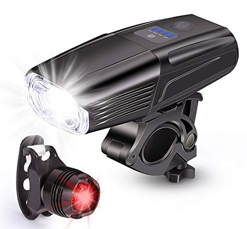 ODISTAR USB Rechargeable 1000 Lumen Bike Light, Smart Sensor Headlight Bicycle and Free Tail Light- - 4 Light Mode Fits All Bicycles, Mountain, Road