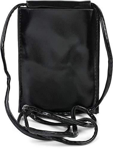 styleBREAKER Bolsa de Hombro para Mujeres para teléfonos móviles en Metal, Bolsa de Hombro, Bolsa de Transporte para teléfonos móviles, Mini-Bolso 02012307, Color:Negro metálico