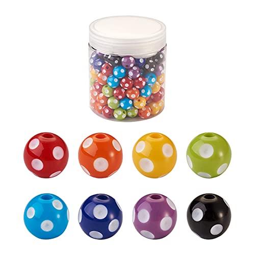 Cheriswelry 160 cuentas redondas de acrílico de 12 mm con patrón de lunares de burbujas de pistola, espaciadores para manualidades, joyas, pulseras y manualidades (8 colores)
