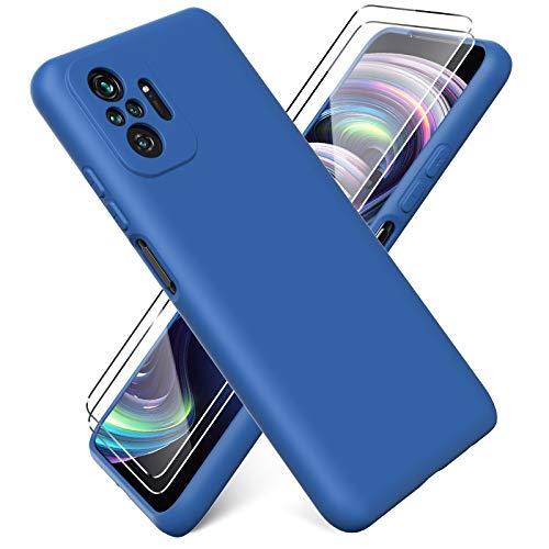 Ikziwreo - Funda para Xiaomi Redmi Note 10 Pro + [2 Pack] Protector Pantalla, Carcasa de Silicona Líquida Gel Ultra Suave Funda con tapete de Microfibra Anti-Rasguño - Azul