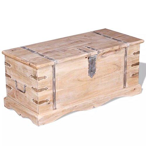 Festnight Aufbewahrungstruhe aus Akazienholz | Couchtisch Truhe Massivholz Tischtruhe mit 2 Seitengriffen, Handgefertigt 90 x 40 x 40 cm Braun